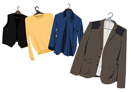 classic mens clothing on hangers Vector