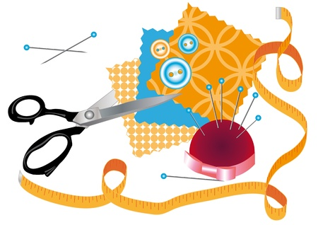 scissors cutting: Various accessories for sewing Illustration