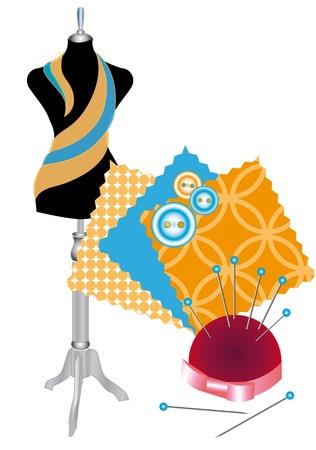 coser: Varios accesorios para la costura y de la ropa Vectores