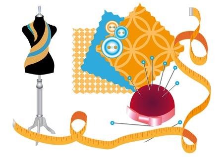 Divers accessoires pour la couture et la conception de vêtements Illustration
