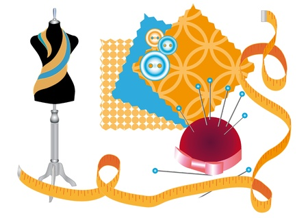 Various accessories for sewing and clothing design Illustration