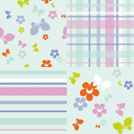pastel backgrounds: Set of seamless backgrounds with various patterns in pastel colors Illustration