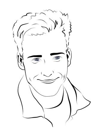 Sketch. Portrait of a smiling man