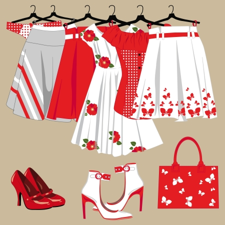 summer women's clothing, handbag and shoes Vector