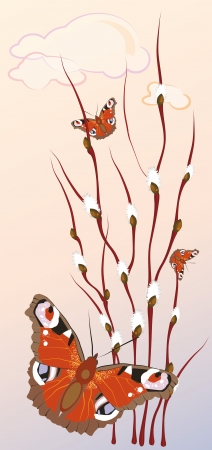 spring morning with flowering branches of willow and butterflies Vector