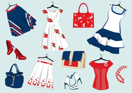 background with summer women's clothing and accessories