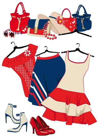 summer womens clothing and accessories on a white background Vector
