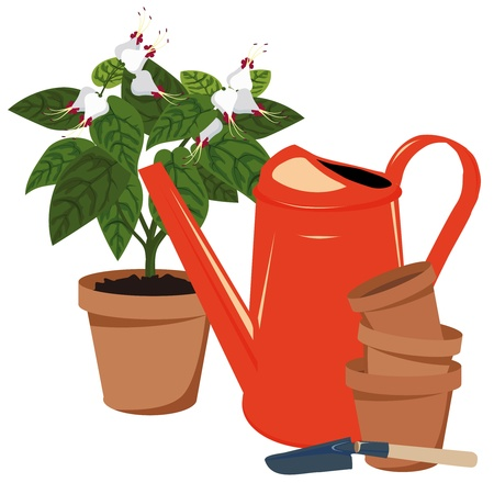 terracotta: flower room, flower pots and watering can Illustration