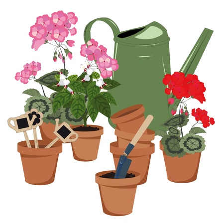 flower room, flower pots and watering can Illustration
