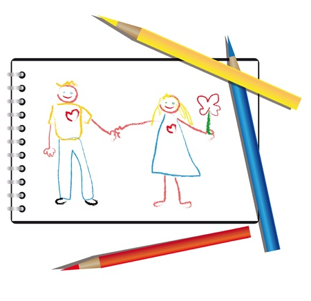 Drawn by a child in the album are people who are holding hands. This is a couple in love. they are happy Vector