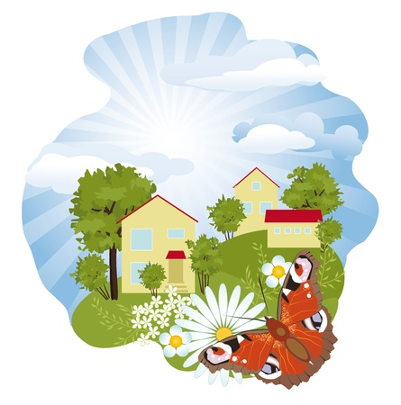 Sunny summer day in a small village Vector