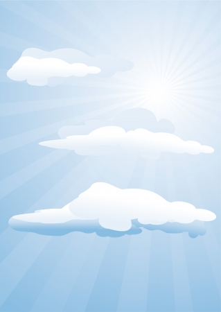 blue sky, sun and clouds Vector