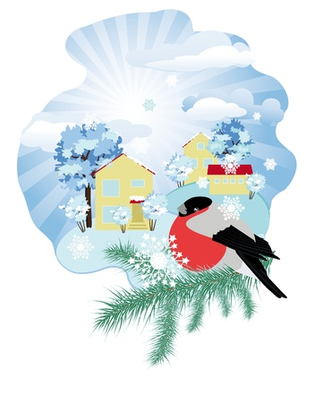 Winter rural landscape with bullfinch on spruce branch Vector