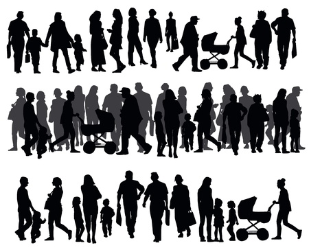 group travel: Silhouettes of people walking on the street Illustration