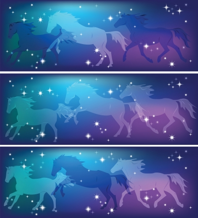Ghostly silhouettes of running horses on a background of the sky Vector