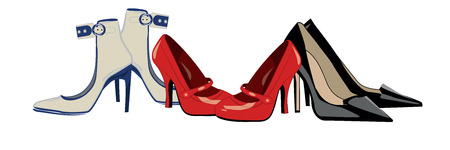 high heel shoes: three pairs of women s high-heeled shoes Illustration
