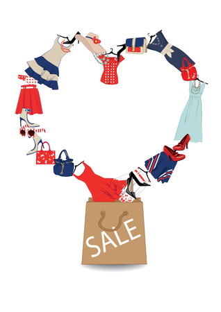 women s clothing and footwear, lined as a heart and a paper bag with the word sale Vector