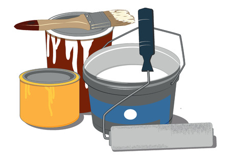 painting on the wall: painting tools and paint cans Illustration