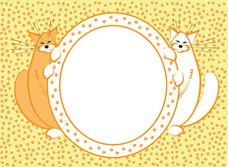 meraklı: yellow background with two gay curious cats Çizim