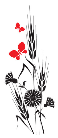 black-and-white composition of the ears and fluttering around flowers supplemented with red butterflies Vector
