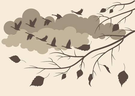 autumn landscape with the latest falling leaves and birds flying south Vector