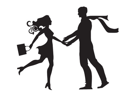 rushed: a pair of lovers rushed to each other s arms Illustration