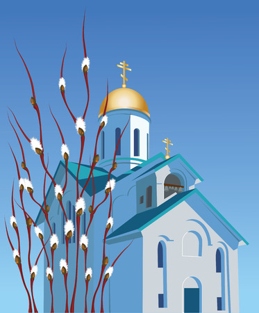 Orthodox church against the blue sky and willow branches with buds Vector