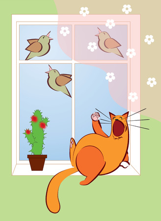 birdsong: cat lying near the window and sing with the birds Illustration