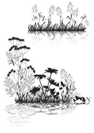 外野の草と花のシルエット  イラスト・ベクター素材