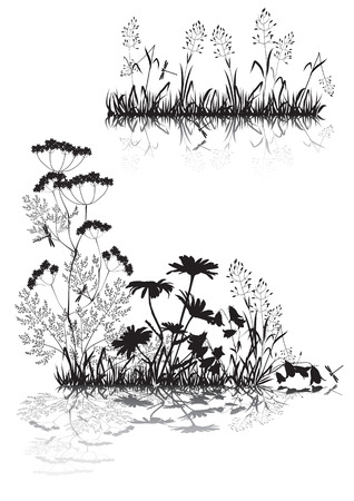 Silhouettes of the outfield grass and flowers Illustration