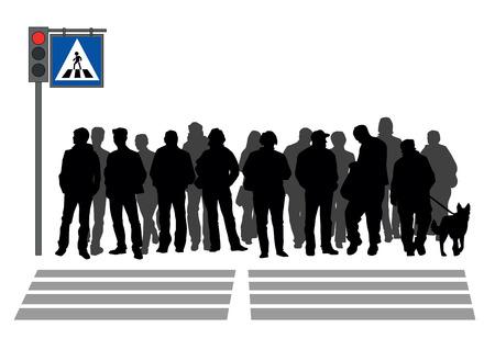 passage clout�: Les gens se tiennent dans un passage pour pi�tons Illustration