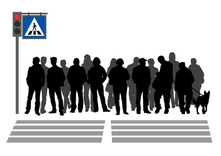 People stand in a crosswalk Zdjęcie Seryjne - 29903140