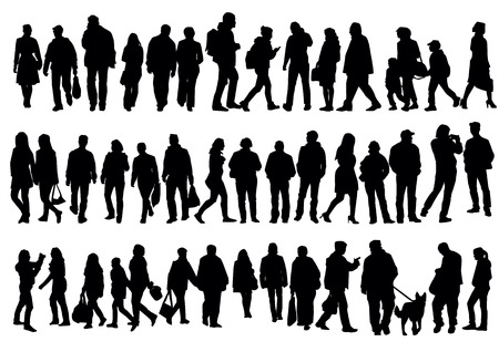 Silhouettes of people walking on the street Ilustração