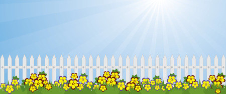 white picket fence: blooming in the garden lawn and a white picket fence