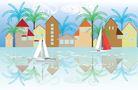 promenade: promenade of the seaside town, buildings reflected in the water, floating on water yacht