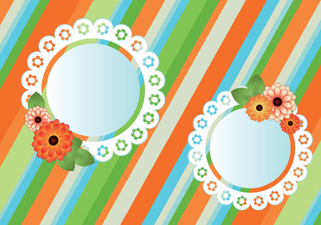 striped background with lace frames Vector