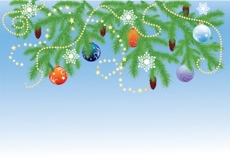 Fir branches and Christmas balls Vector