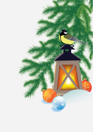 fir branches, flashlight and tit Vector