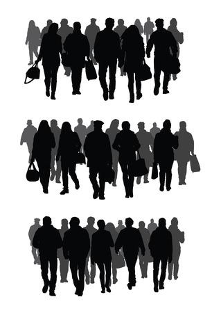 Silhouetten van mensen lopen op straat Stockfoto - 33942122