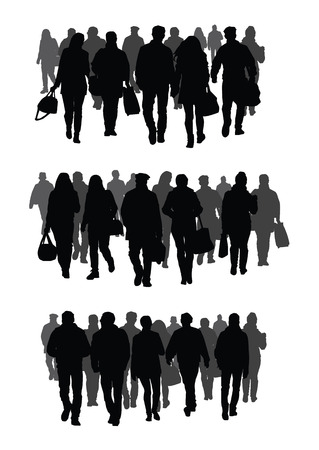 Silhouettes of people walking on the street Illusztráció