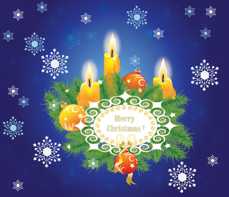 Christmas background with candles and fir branches Vector