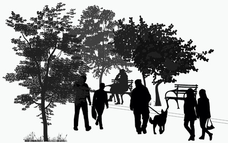 silhouettes of people walking in the park among the trees Vector