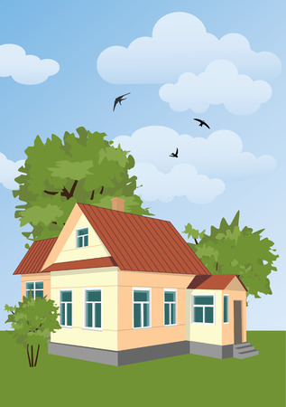 country house: small country house among the trees Illustration