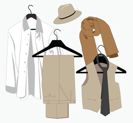Menswear in classical style on hangers Vector