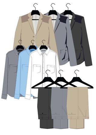 menswear: Menswear in classical style on hangers