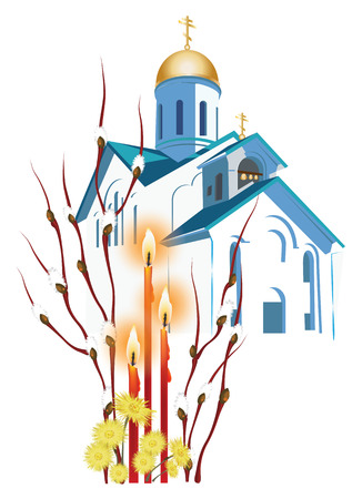 orthodox: Orthodox church, willow branches and Easter candles