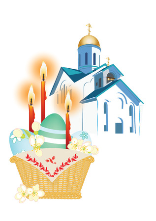 orthodox: Orthodox church and a basket with Easter eggs