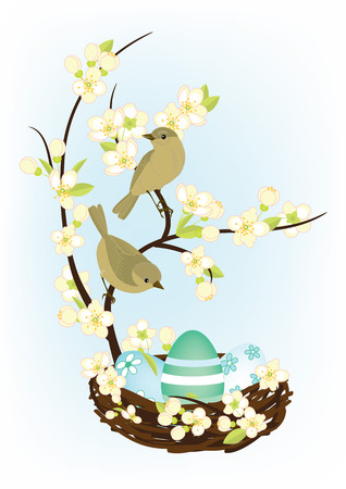 bird nest: small birds sitting on branches near the nest with easter eggs Illustration