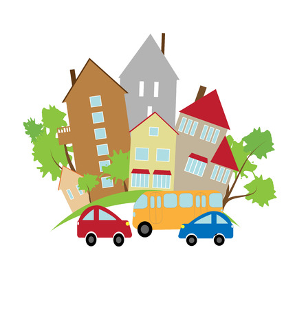 The street of a small town with houses and cars Vector