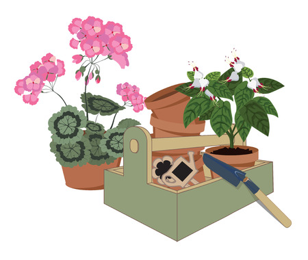 garden tools watering can and potted geraniums